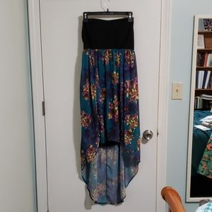 Black and floral high low dress